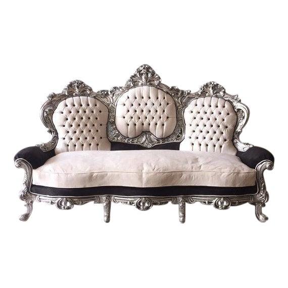 Tufted Italian Rococo Three-Seater Settee For Sale
