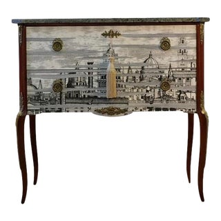 Antique Fornasetti Style Chest With Marble Top and Detailed Legs For Sale