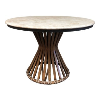 McGuire Marble Top Rattan Accent Table For Sale