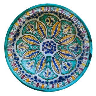 Antique Polychrome Ceramic Bowl For Sale