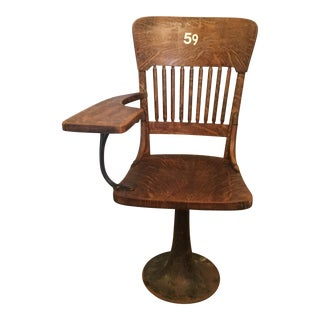 Antique Quarter Sawn Oak University Lecture Hall Chair - Metal Pedestal For Sale