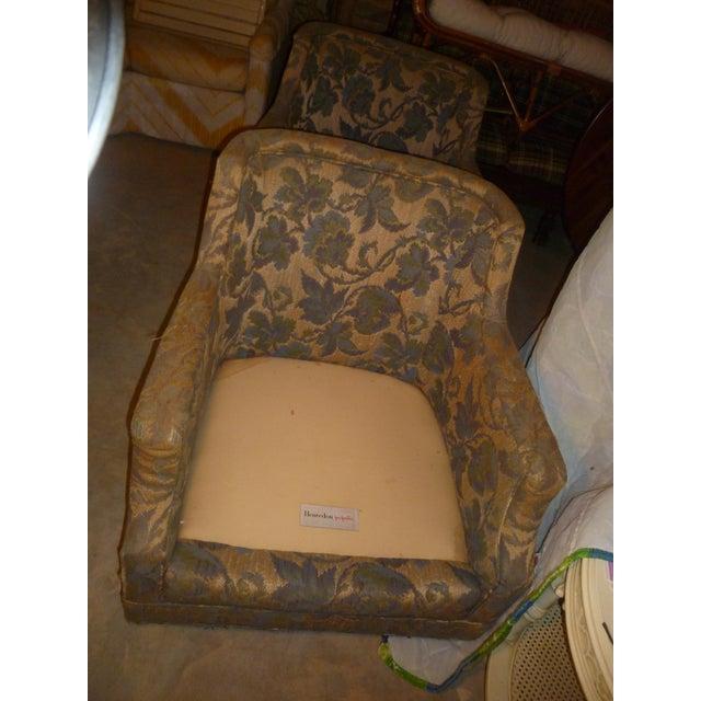 Blue Vintage Henredon Barrel Tub 2 Club Chair Good Frames - a Pair Mid Century Modern MCM Offer For Sale - Image 8 of 10