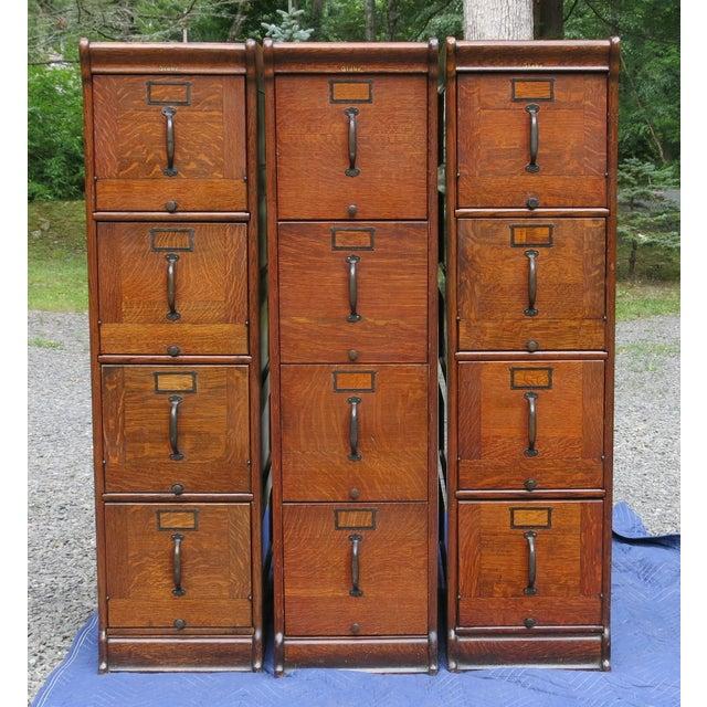 Antique Globe Oak File Cabinets - Set of 3 For Sale - Image 13 of 13