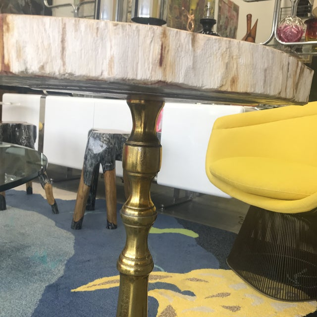 Wood Petrified Wood Side Table With Lucite Base For Sale - Image 7 of 10