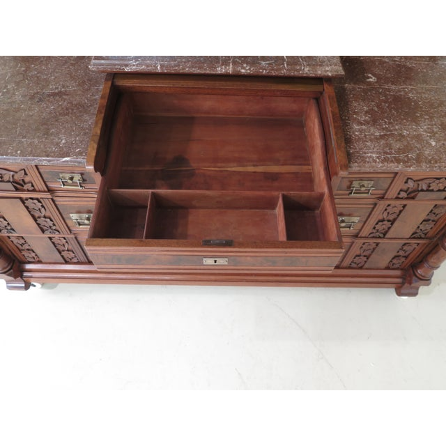 Herter Brothers Aesthetic Victorian Inlaid Walnut Queen Bedroom Set - A Pair - Image 8 of 11