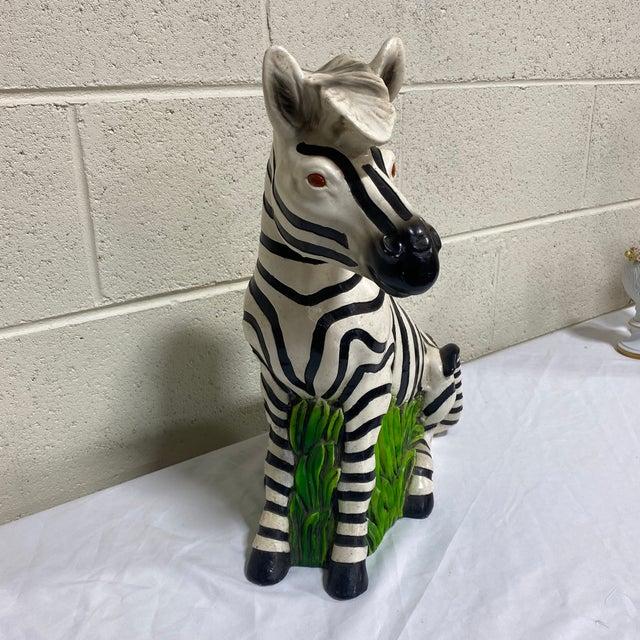 Hollywood Regency Vintage Hollywood Regency Resin Zebra Sculpture For Sale - Image 3 of 13