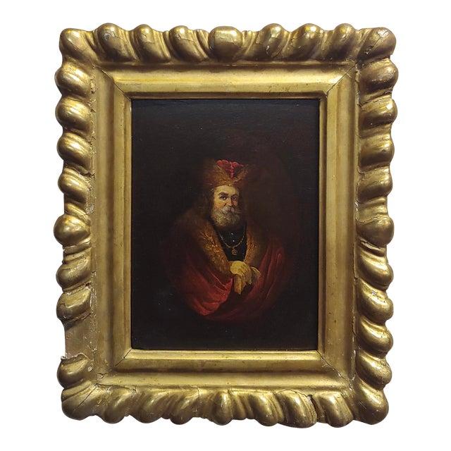 Portrait of a Monarch -18th Century Flemish Oil Painting For Sale