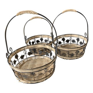 3 Round Nesting Baskets Metal Leaves For Sale