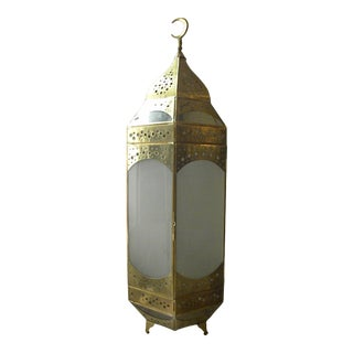 Moroccan Copper and Glass Lantern Lamp For Sale