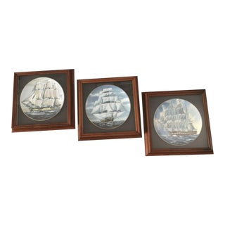Sailing Ships in Shadow Box - Vintage Danbury Mint Great American Sailing Ships Series - Set of 3 For Sale