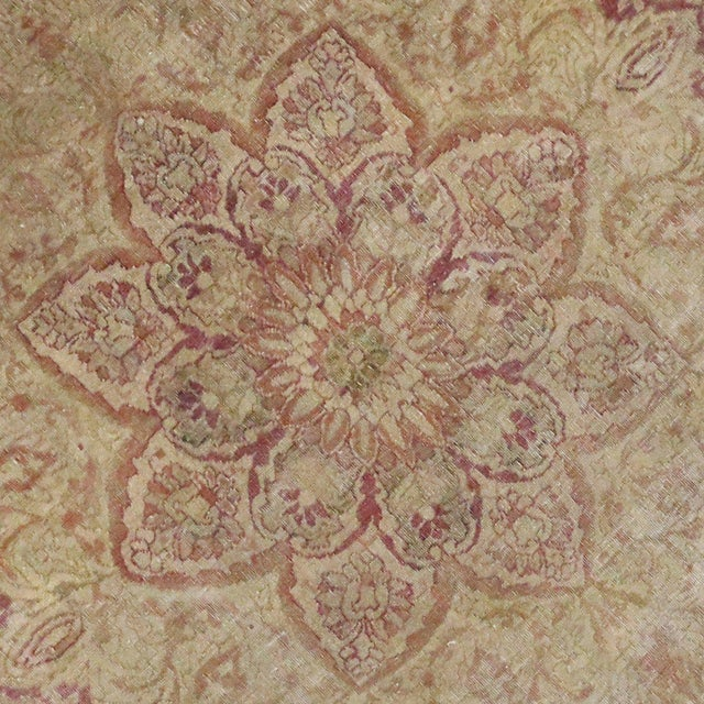 Antique Turkish Hereke Rug with Art Nouveau Style in Muted Colors For Sale - Image 4 of 5