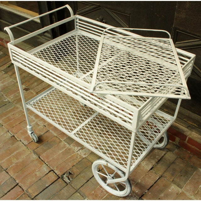 1940s 1940s Vintage Wrought Iron Patio Bar Cart For Sale - Image 5 of 10