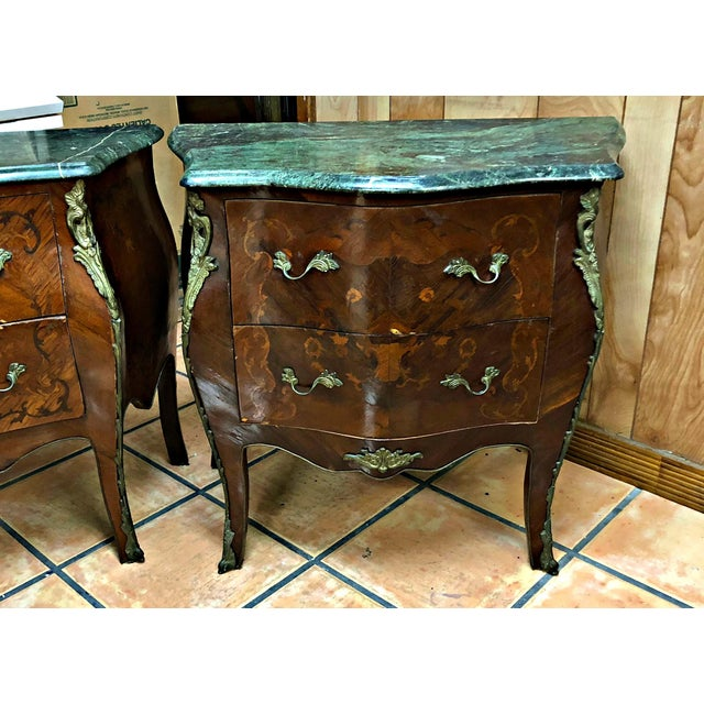 French Marquetry Inlay and Marble Top Commodes - a Pair For Sale - Image 12 of 13