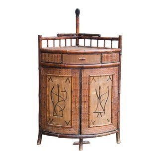 Antique English Victorian Bamboo Bar Cabinet For Sale