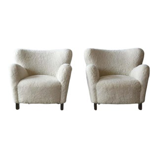 Pair of Classic Danish Modern Lounge Chairs in Shearling by JenMod For Sale