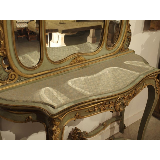 French Antique Painted Console Table and Mirror from Italy, Circa 1880 For Sale - Image 3 of 11