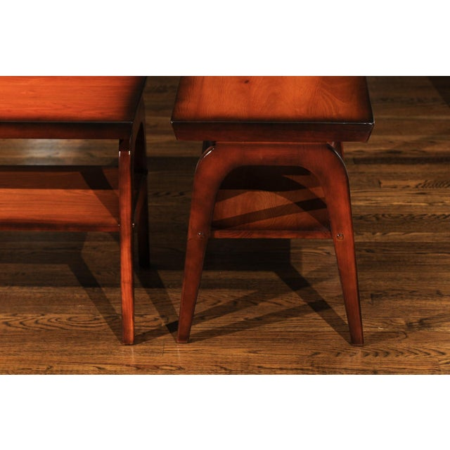 Oak 1954 Restored Pair of End Tables by John Wisner for Ficks Reed For Sale - Image 7 of 13