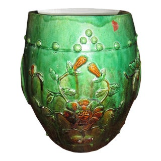 Green Ceramic Drum Stool For Sale