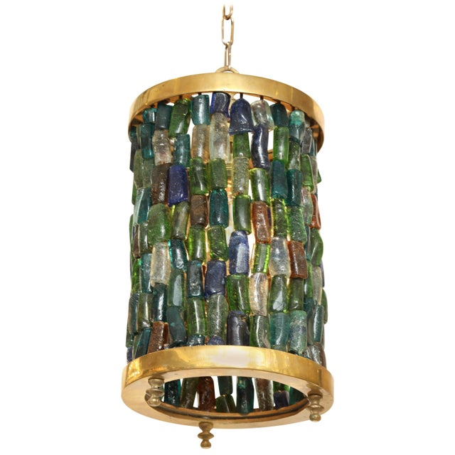 Brass Small Multicolored Lantern For Sale - Image 8 of 8
