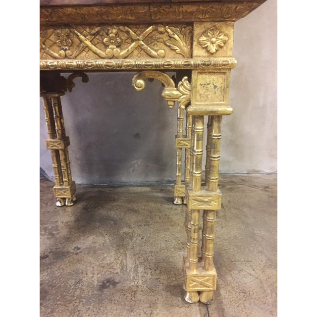 Chinese Chippendale Style Gold Leaf Side Table For Sale - Image 4 of 8