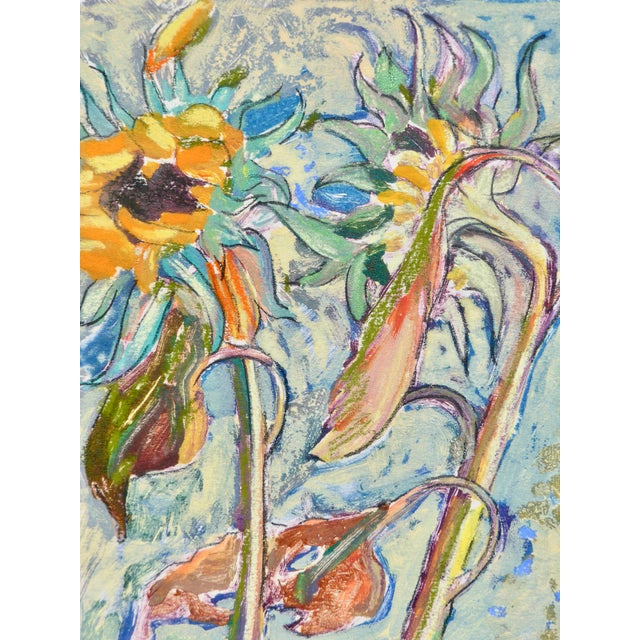 Original, unique and contemporary oil painting on paper of the sunflowers from the artist's garden in Paris, France. The...