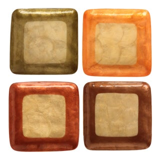 Mascagni Italy Colorized Capiz Shell Trays - Set of 4 For Sale