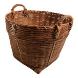Image of Mid 20th Century Vintage Woven Basket With Handles For Sale