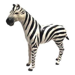Vintage Hand-Painted Paper Mache Zebra Figurine