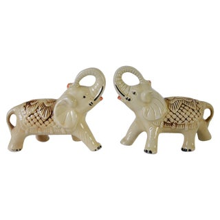 Vintage Exotic Elephant Figurines - Pair