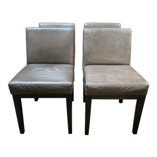 Restoration Hardware Morgan Leather Side Chairs - Set of Four For Sale