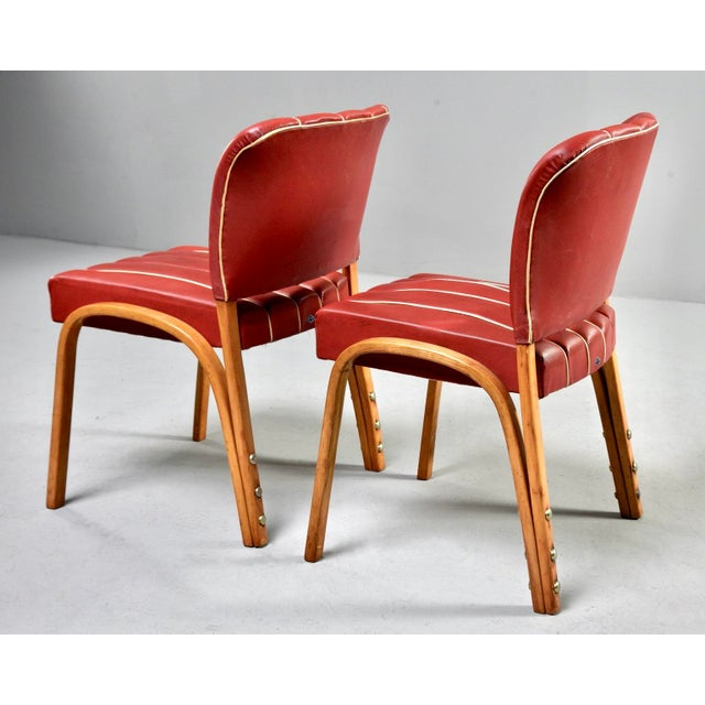 Italian Mid Century Bentwood Dining Chairs With Original Red Vinyl Upholstery - Set of 6 For Sale - Image 11 of 13