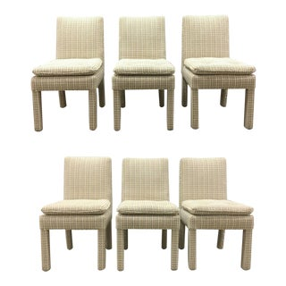 Contemporary Milo Baughman Style Upholstered Parsons Side Chairs - Set of 6 For Sale