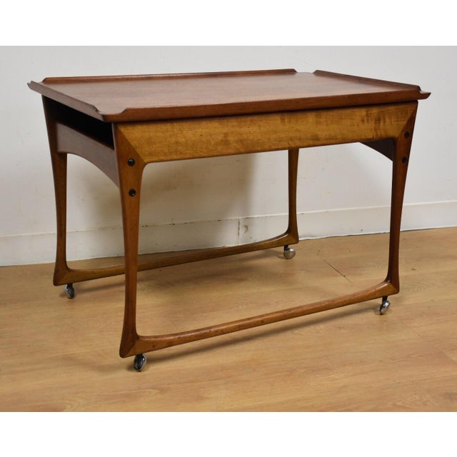 Ingvard Jensen Rolling Teak Bar Cart - Image 2 of 11