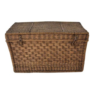 Antique French Traveling Wicker Trunk
