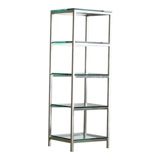 Modern Brushed Aluminium Étagère or Display with Five Thick Glass Shelves For Sale