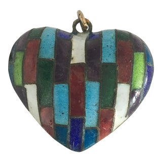Vintage Enamel Puffed Heart Charm For Sale
