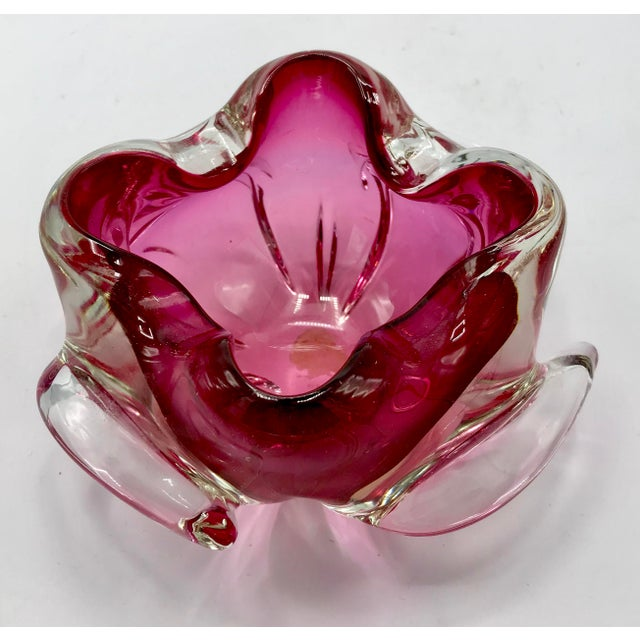 Alfredo Barbini for Archimede Seguso Cranberry Glass Bowl or Ashtray For Sale - Image 5 of 9