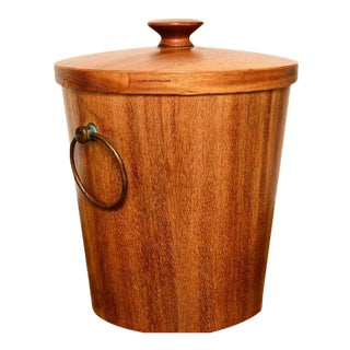 Mexican Modernist Mahogany Ice Bucket For Sale