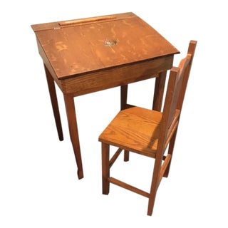 Antique Childs Home School Desk With Chair - 2 Pieces For Sale