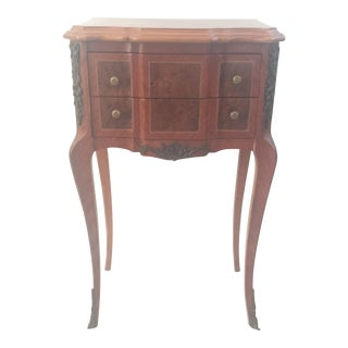 Vintage French Marquetry Side Table With Two Drawers For Sale