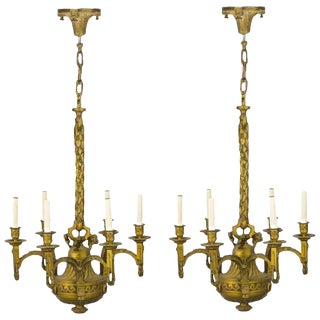 Pair of 19th Century French Ormolu Chandeliers, Possibly Linke For Sale