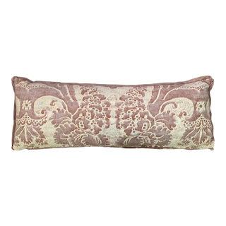 21st Century Fortuny Crimson Velvet Back Lumbar Pillow For Sale