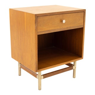 George Nelson Style Kroehler Signature Line Mid Century Walnut Rosewood and Metal Nightstand For Sale