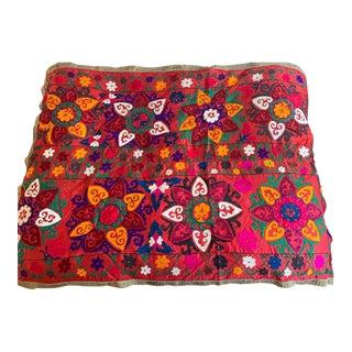 """Old Uzbecki Suzani Textile, Throw - 52"""" X 72"""" For Sale"""