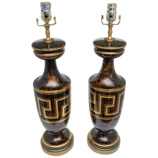 1930s Neoclassic Revival Brown Gold Table Lamps With Greek Key Motif - a Pair For Sale