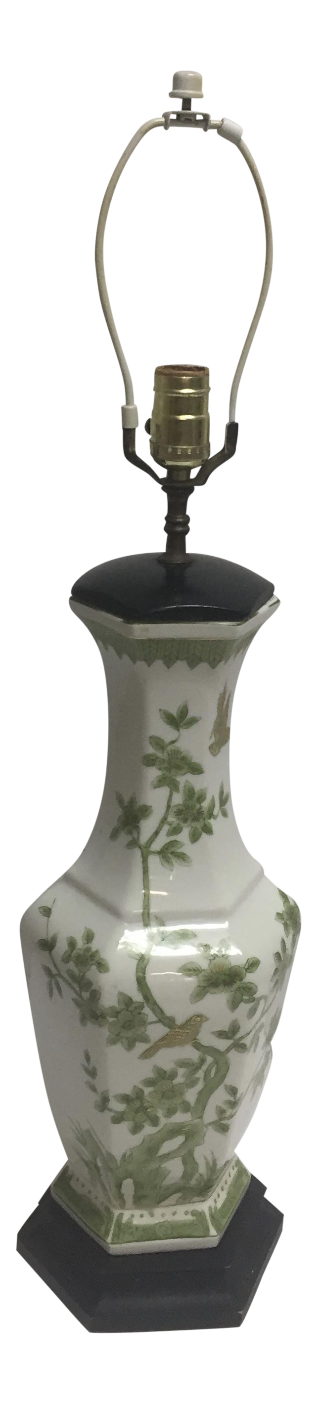 Vintage Chinoiserie Green, White, Gold Vase Table Lamp For Sale