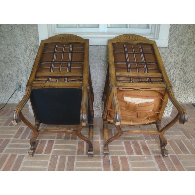 Vintage Carved French Country Armchairs - a Pair For Sale - Image 9 of 10