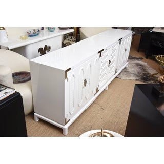 1960s Mid-Century Modern White Lacquered and Nickel Silver Cabinet Preview