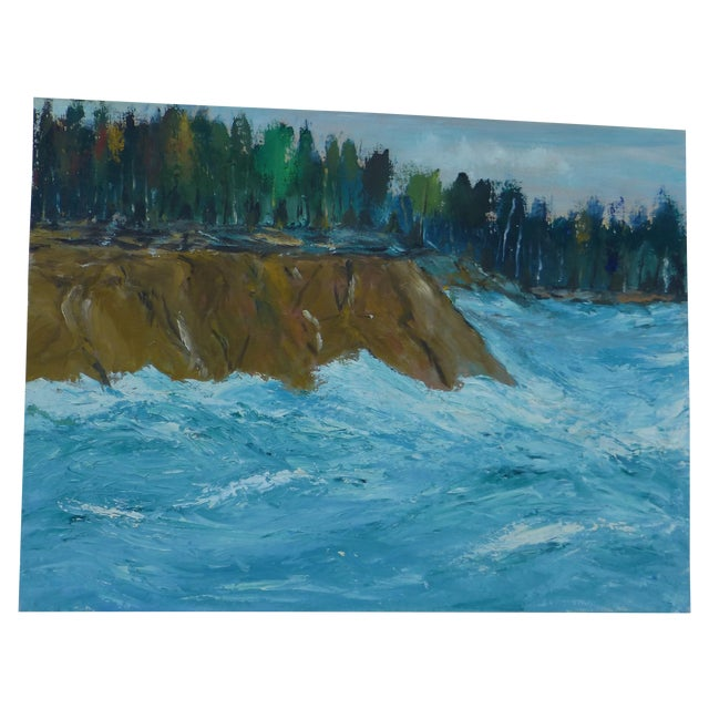 MCM Oil Painting of New England Ocean - Image 1 of 6