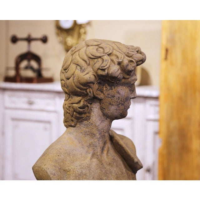 Mid 20th Century Midcentury French Outdoor Weathered Cast Stone Statuary Roman Bust For Sale - Image 5 of 10